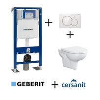 Geberit - Pack Up320 + Cuvette sans bride Velvet+ plaque Sigma Blanche