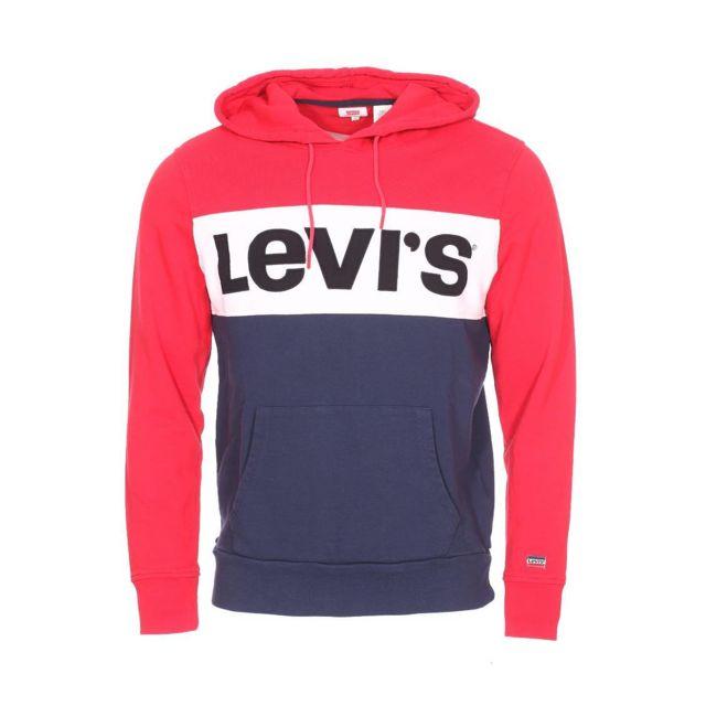 dernières tendances de 2019 nouveau concept détaillant en ligne Levi'S - Sweat à capuche Colorblock en coton rouge, blanc et ...