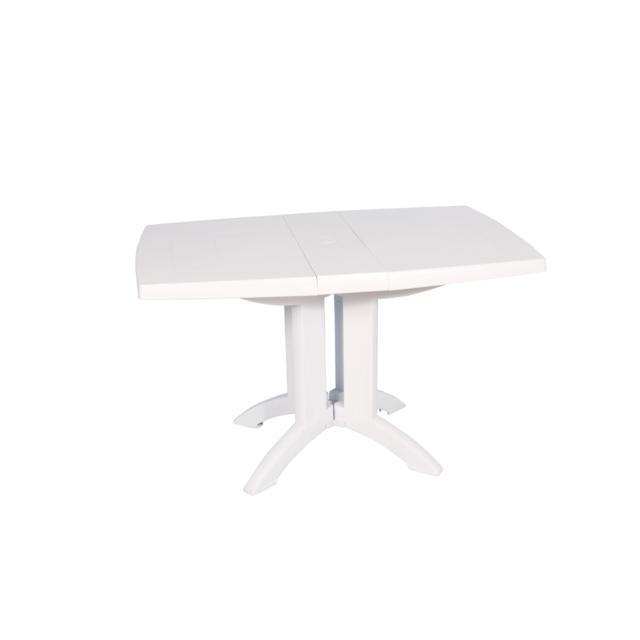Table rectangulaire de jardin 160x110 cm - Pliable - Blanc