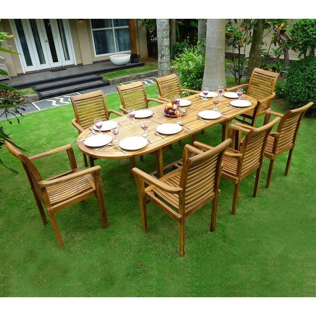 wood en stock salon de jardin en teck 8 fauteuils de jardin en teck empilables bois pas cher. Black Bedroom Furniture Sets. Home Design Ideas