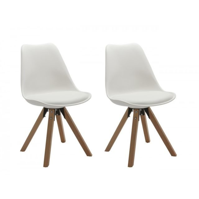Autre Set de 2 chaises de salle à manger design simili-cuir blanc pieds bois Cds09026