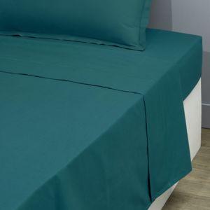 tex home drap plat en percale de coton durable vert fonc 300cm x 240cm pas cher achat. Black Bedroom Furniture Sets. Home Design Ideas
