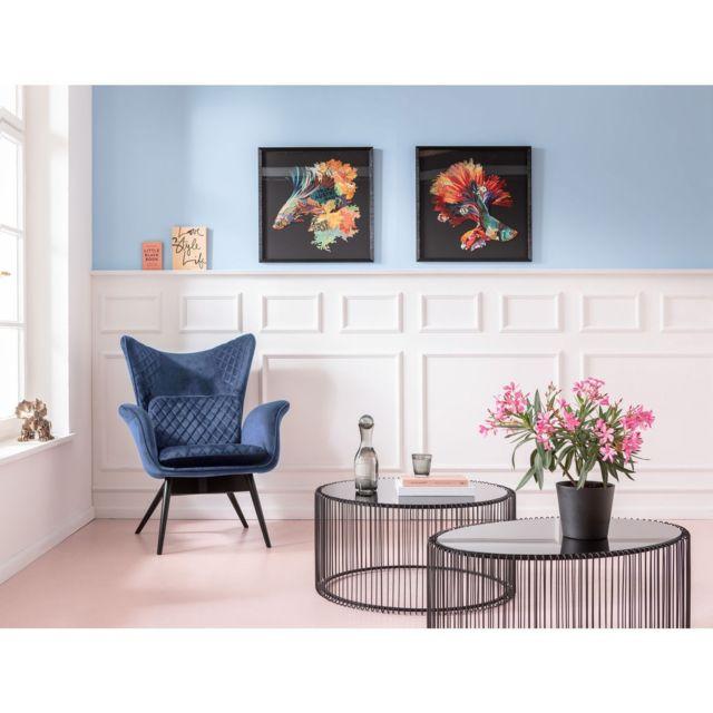 Fauteuil Tudor velours bleu pétrole Kare Design