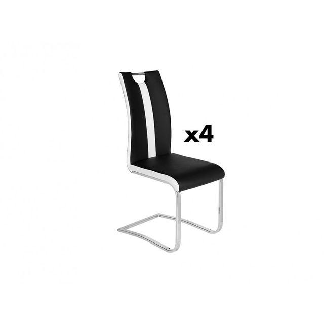 Lot de 4 chaises MATILDA en simili Noir & blanc