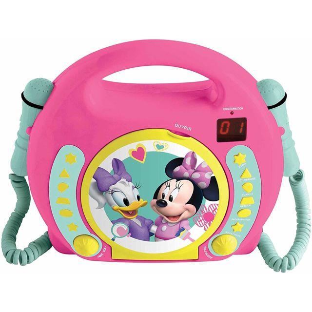 Lexibook Disney Junior Minnie Mouse Lecteur Cd pour enfant avec 2 microphones jouets, prise écouteurs, à piles, Rose, Rcdk100MN