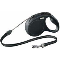 Flexi - Laisse à enrouleur New Classic noir en corde Taille S Longueur 8 m chiens < 12 kg