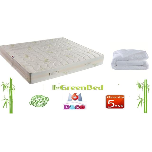 Greenbed Matelas Luxe et Confort de 140x190cmx23cm + couette 240x220cm Basic microfibre 400g/m²