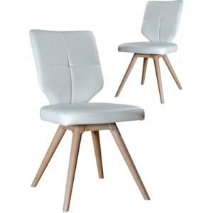 comforium lot de 2 chaises en simili cuir design scandinave blanc marron pas cher achat. Black Bedroom Furniture Sets. Home Design Ideas
