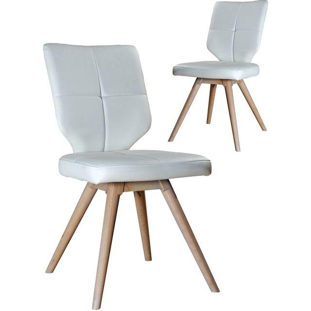 Comforium Lot De 2 Chaises En Simili Cuir Design Scandinave Blanc