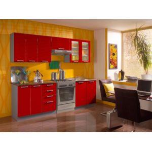baltic meubles cuisine rubis laqu e rouge vif 2m40 7 meubles pas cher achat vente. Black Bedroom Furniture Sets. Home Design Ideas