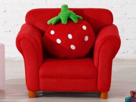 Fauteuil Pour Bébé vente-unique - fauteuil pour enfant en tissu fraisier avec coussin