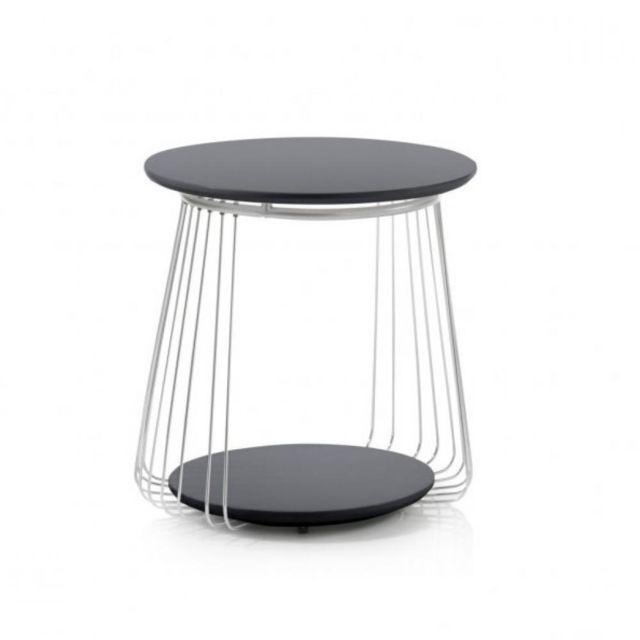 Inside 75 Table basse Vella 50 cm design laque noir mat