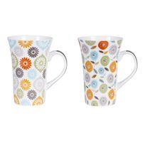 Table Passion - Mug en porcelaine 50cl coloris et motifs assortis - Coffret de 2 pièces Jaipur
