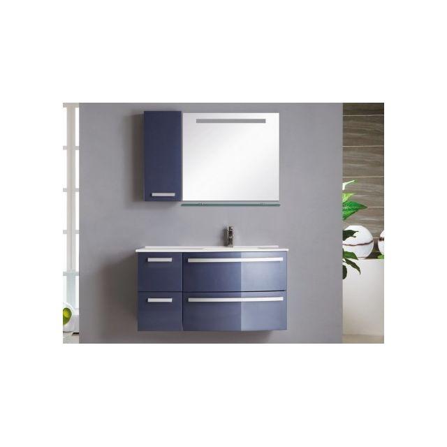 Marque Generique Ensemble de salle de bain Nereide - meubles + vasque + miroir - Bleu