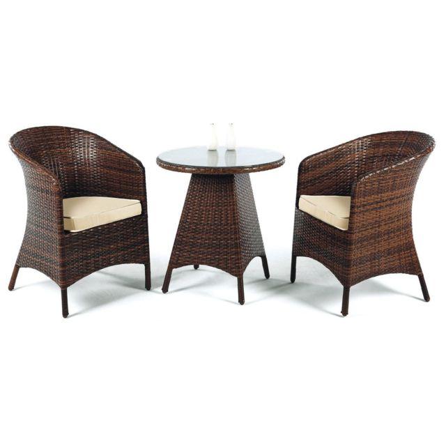 HEVEA JARDIN 1 table ø65 + 2 fauteuils et coussins - résine marron