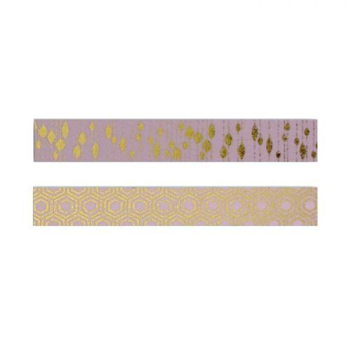 Autre 2 masking tapes rose à motifs dorés