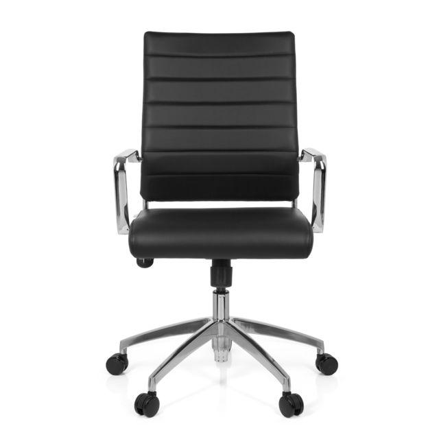 Hjh Office Chaise de bureau / Fauteuil de direction Pontera simili cuir noir