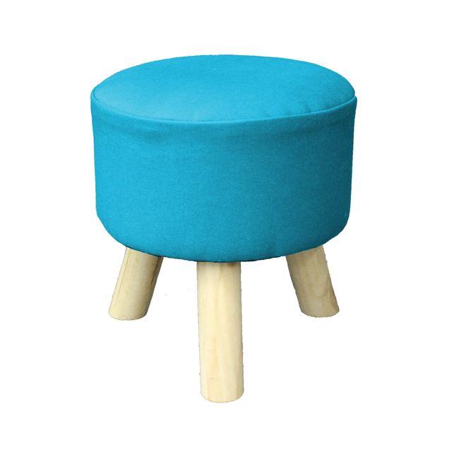 Ligne Decor Cdaffaires So tabouret 0, 32 cm x ht 36 cm coton uni prince Turquoise