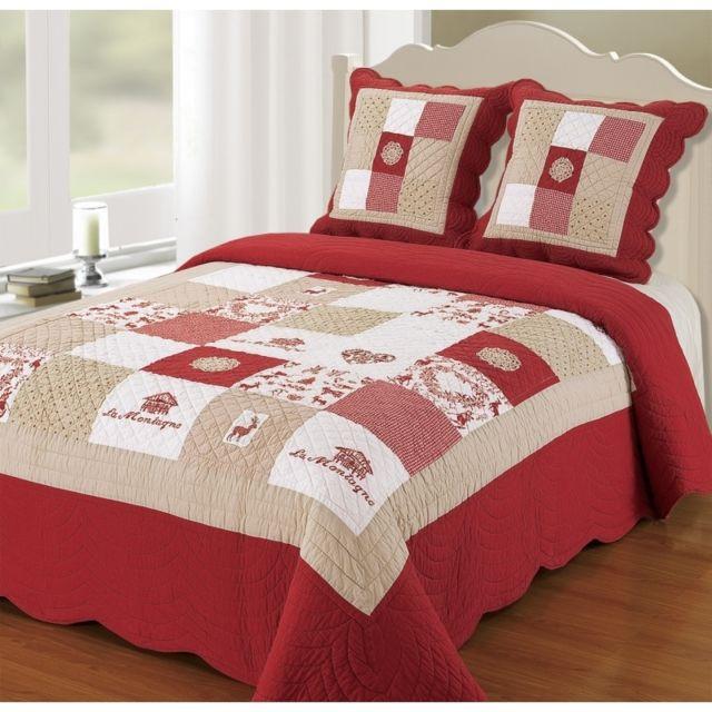 decor dautrefois couvre lit boutis 2 places mont blanc rouge pas cher achat vente couvertures et plaids rueducommerce - Couvre Lit Boutis