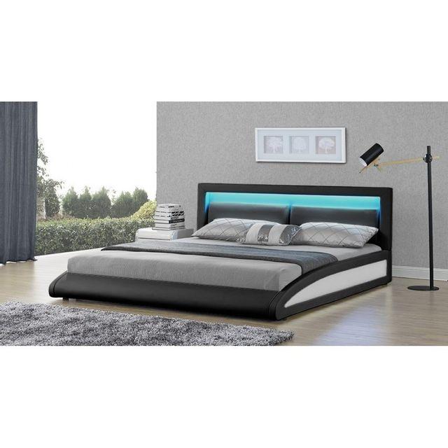 rocambolesk magnifique lit vegas noir led 140x190 140cm x 190cm pas cher achat vente. Black Bedroom Furniture Sets. Home Design Ideas