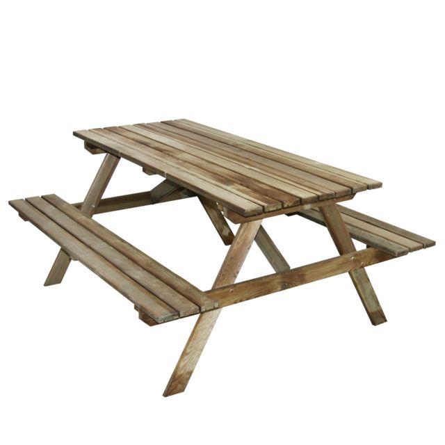 Cemonjardin Table pique-nique en bois 4 places Marly