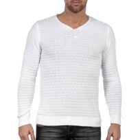 site réputé 498bb 4f593 Pull blanc laine col v boutons