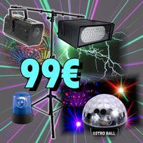 Ibiza Light - 1 Laser 130 Mw Rouge Vert + 1 Strobo 50 Leds + 1 Gobo Flower + 1 Gyrophare + 1 Pied Pa-dj