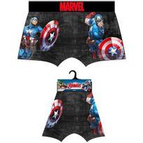 Marvel Comics - Marvel Boxer Homme Microfibre Captain America Noir Bleu
