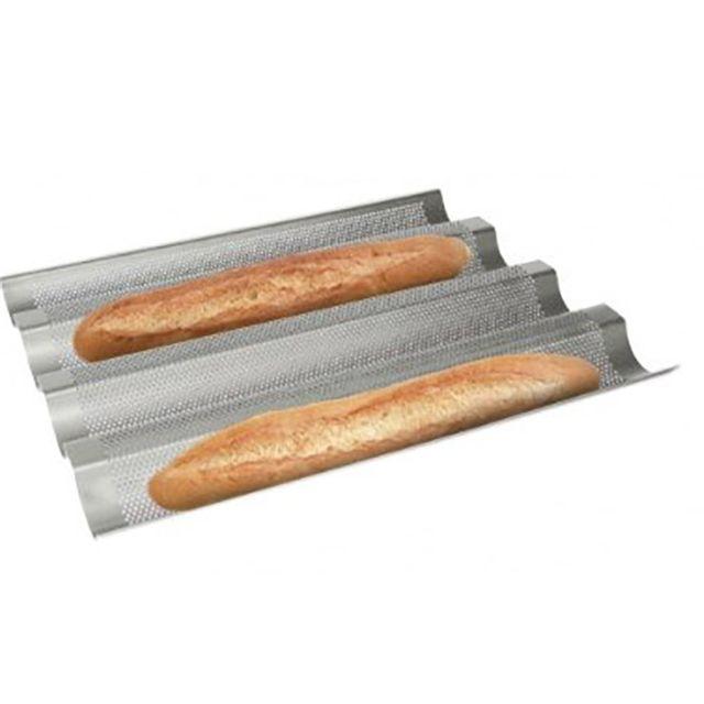 Touslescadeaux Plaque perforée pour 4 baguettes de pain - Anti-Adhésif