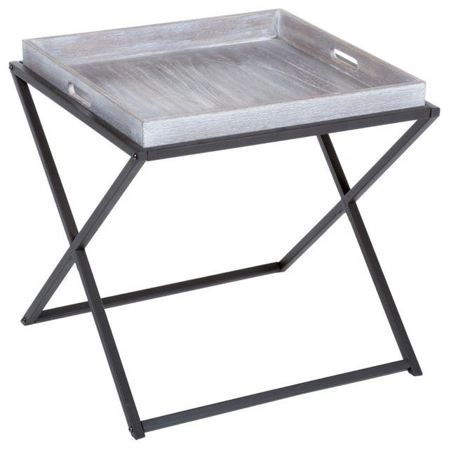 Pegane Table à café pliante en bois et métal coloris marron - Dim : L.48 x l.48 x H.47,5 cm
