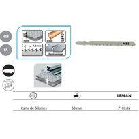 Leman - 5 Lames de scie sauteuse universelle 50 mm chantournage Pas 1,2 mm - 7103.05