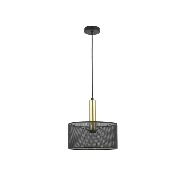 Mathias - Suspension cylindre en métal grillagé noir finition laiton diamètre 30cm Thyzen