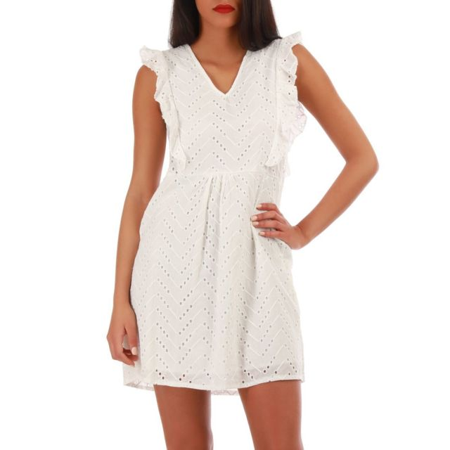 67b54daf4eea45 Lamodeuse - Robe blanche broderie anglaise M L - pas cher Achat ...