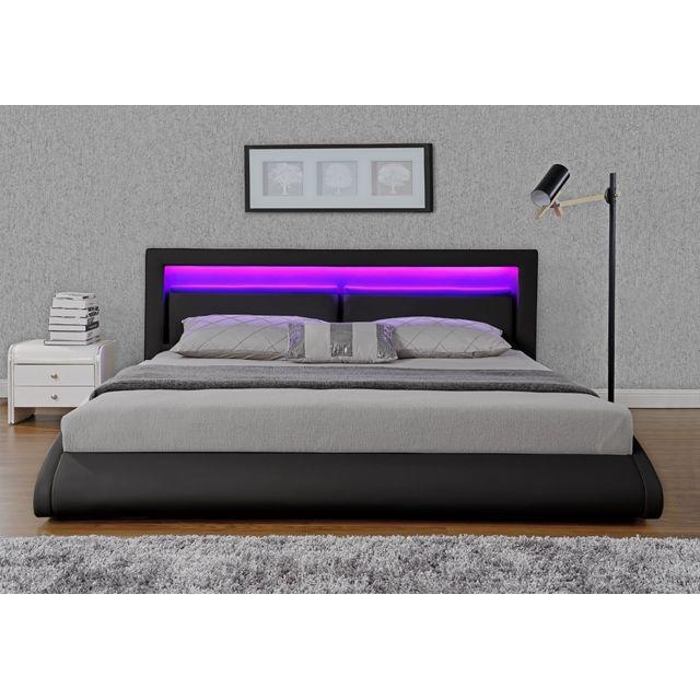 concept usine lit design brixton 160x200 noir avec. Black Bedroom Furniture Sets. Home Design Ideas