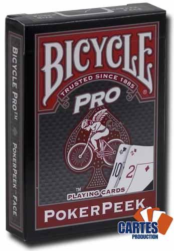 Poker Production - Jeu de 52 cartes : Bicycle Pro Poker Peek rouge