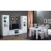 Modern Salon - Ensemble 7 éléments: laque blanc 2 vitrine 1 + meuble télé + table 160+ 4 chaises