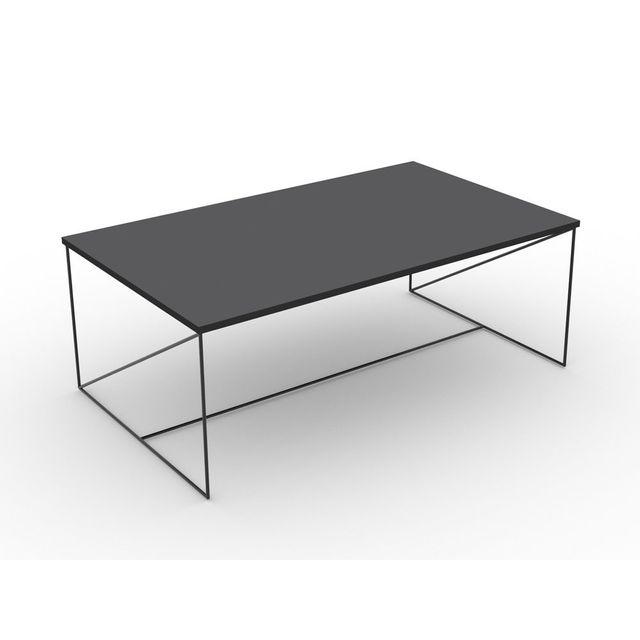 marque generique table basse avec plateau anthracite et pitement mtal noir l100 x h35 cm