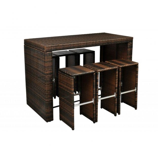Autre - Table haute brun avec 6 tabourets de jardin rotin résine ...