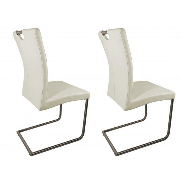 Meubletmoi Lot 2 chaises design grises en simili cuir - Adriana