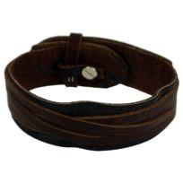So Chic Bijoux - Bracelet Cuir Véritable Marron 18 à 22 cm Acier Inoxydable