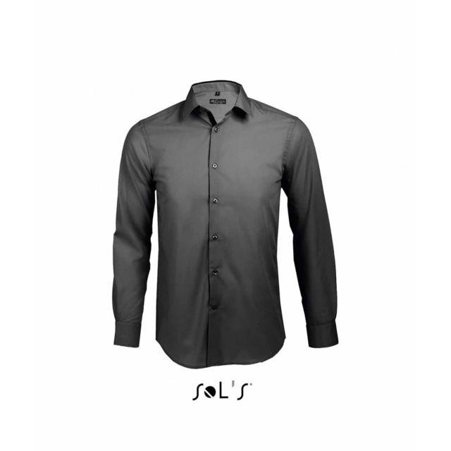 00570 Sol'S revers chemise gris longues contrastés manches Homme trrwdY