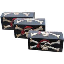 Les Animaux De La Fee - Coffre pirate bois set de 3 tailles S/M/L