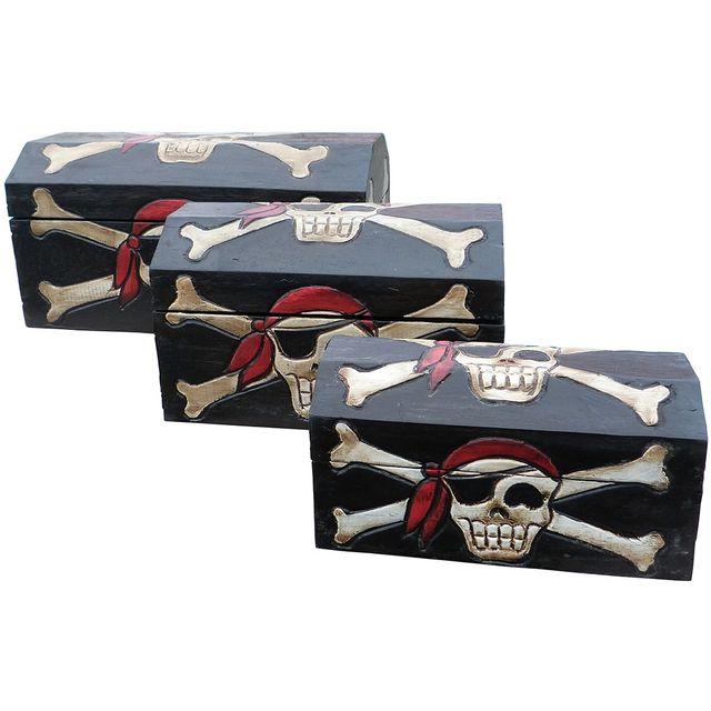 Les Animaux De La Fee Coffre pirate bois set de 3 tailles S/M/L