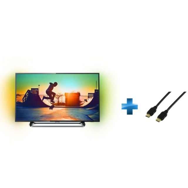 PHILIPS - TV Led 55'' - 55PUS6262 + Cordon HDMI 1.4 - 1.5 mètres