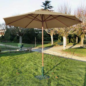 rendez vous d co parasol en bois biarritz taupe pas cher achat vente parasols rueducommerce. Black Bedroom Furniture Sets. Home Design Ideas