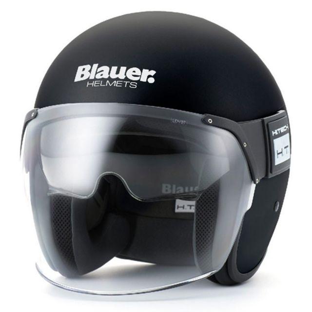 Blauer - casque jet moto scooter Pod fibre noir mat