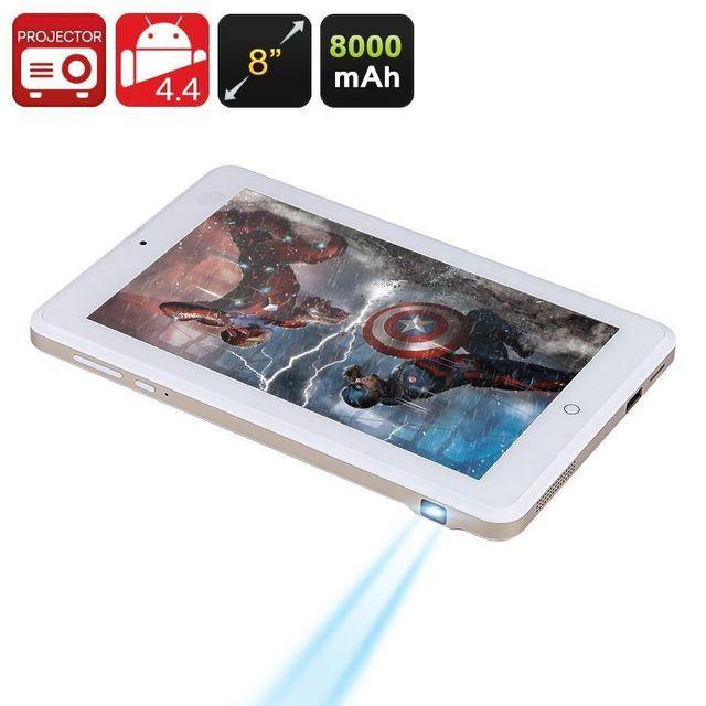 Yonis Tablette Vidéoprojecteur Android 4.4 Quadcore 100 Lumens 8 Pouces 16Go