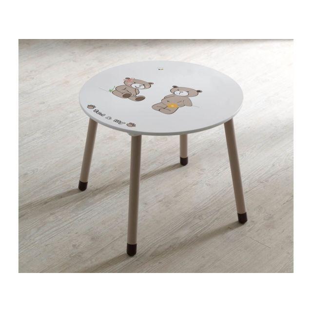Table enfant Ted & Lily - Ø 60 x 50 cm - Chocolat/beige