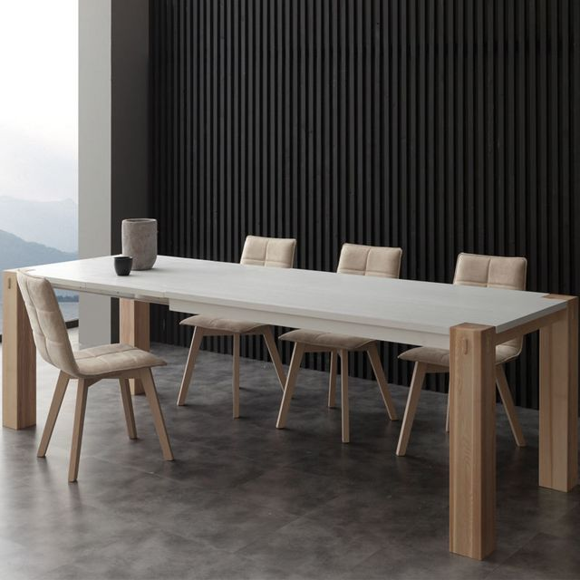 Nouvomeuble Table à manger extensible bois et blanc Helia