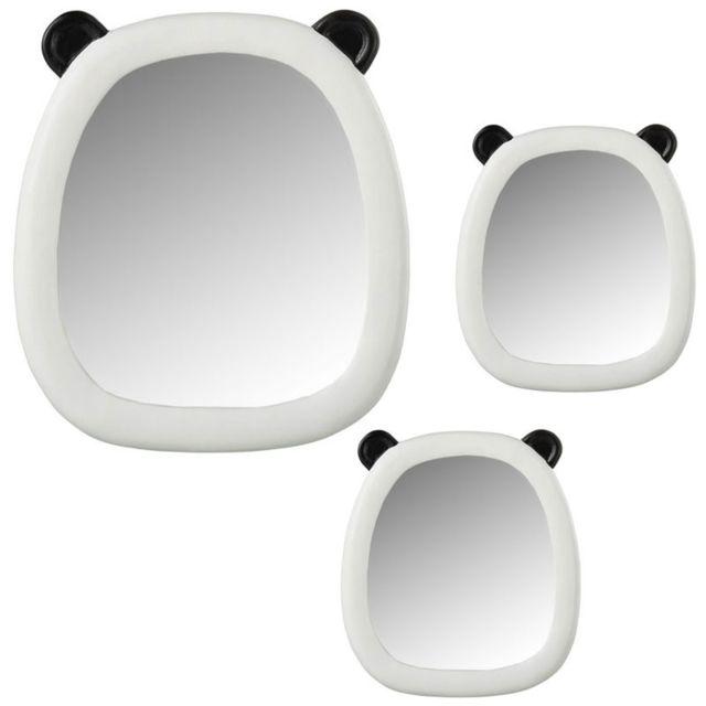 Tousmesmeubles Trio de Miroirs panda Résine Noir/Blanc - Spindan